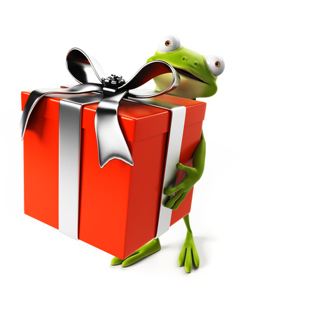 3d rendered toon character - green frog photo