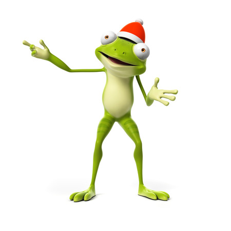 christmas frog: 3d rendered toon character - green frog