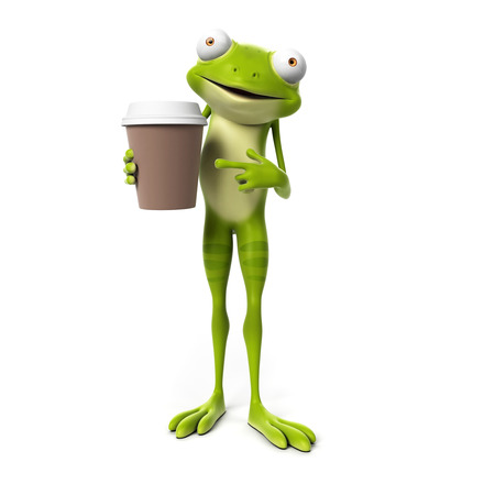 frog jump: 3d rendered toon character - green frog