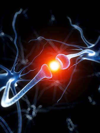 cellule nervose: 3d ha reso l'illustrazione medica - neurone attivo