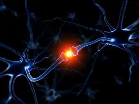 neuron: 3d rindi� la ilustraci�n m�dica - neurona activa Foto de archivo