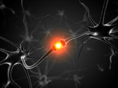 encephalon: 3d rendered medical illustration - active neurone