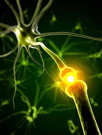 impulse: 3d gerenderten medizinische Illustration - aktive Neuron Lizenzfreie Bilder