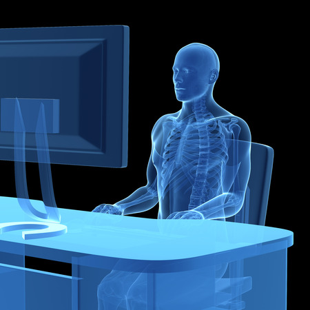 3d rendered medical illustration - correct sitting posture Stock Illustration - 22584213
