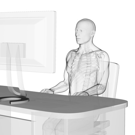 3d rendered medical illustration - correct sitting posture Stock Illustration - 22584214
