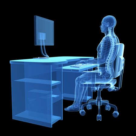 squelette: 3d a rendu l'illustration m�dicale - posture assise correcte