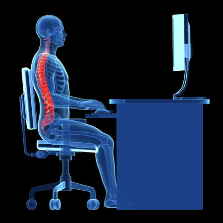 hombre sentado: 3d rindi� la ilustraci�n m�dica - correcta postura sentada