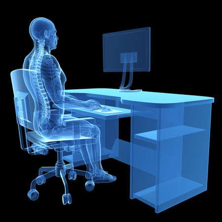 spina dorsale: 3d ha reso l'illustrazione medica - postura corretta