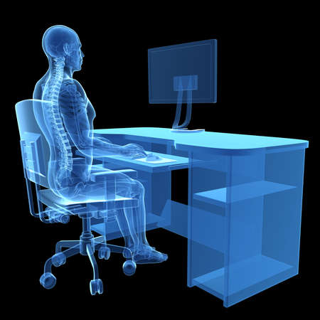 3d rendered medical illustration - correct sitting posture illustration