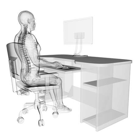 medicina ilustracion: 3d rindi� la ilustraci�n m�dica - correcta postura sentada