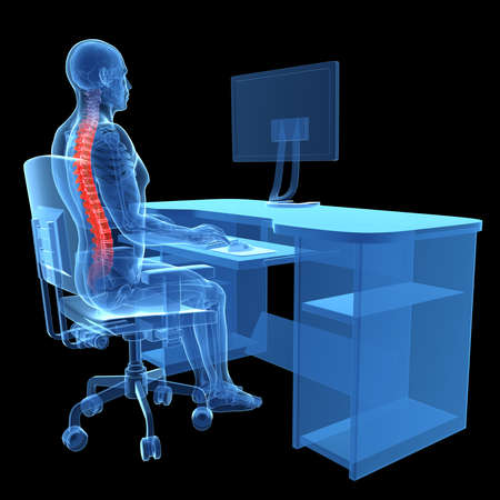3d rendered medical illustration - correct sitting posture Stock Illustration - 22584222