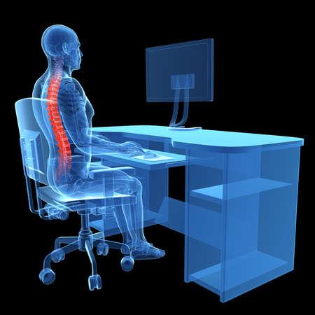 back straight: 3d rendered medical illustration - correct sitting posture