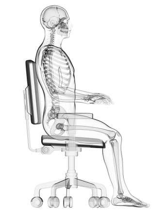 hombre sentado: 3d rindió la ilustración médica - correcta postura sentada