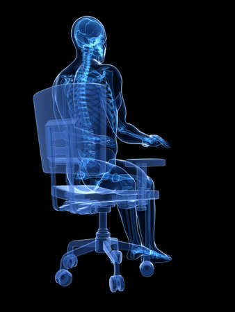 ser humano: 3d rindió la ilustración médica - correcta postura sentada