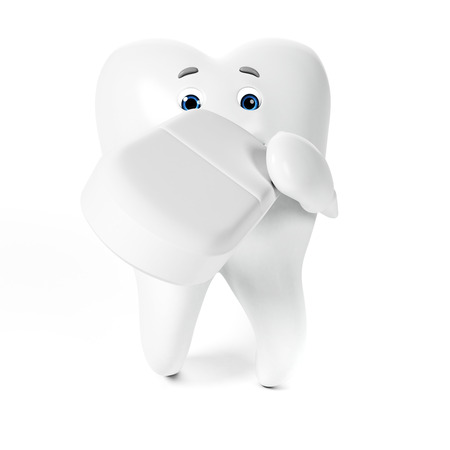 3d rendered toon character - funny tooth Stock Photo