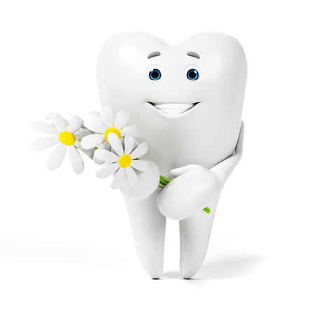 molar: 3d rendered toon character - funny tooth Stock Photo