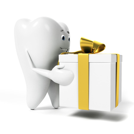 decayed: 3d rendered toon character - funny tooth Stock Photo