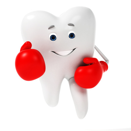 dental caries: 3d rendered toon character - funny tooth Stock Photo