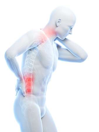3d rendered illustration of a man having a painful back and neck illustration