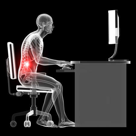 back ache: 3d rendered illustration of a man working on pc - wrong sitting posture