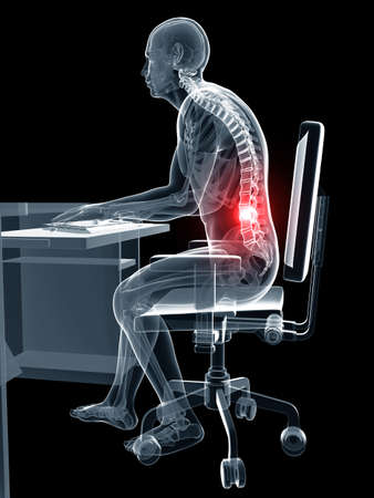 sit back: 3d rendered illustration of a man working on pc - wrong sitting posture