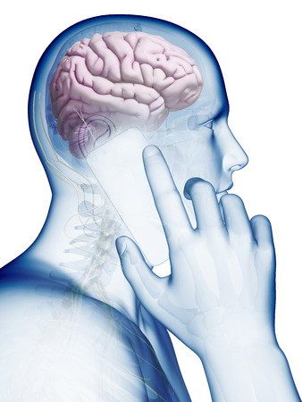 influence: mobile phone influence on the brain Stock Photo
