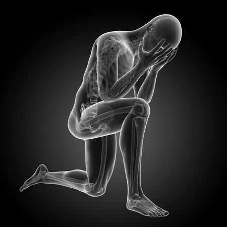 depressed man: depression illustration - visible anatomy