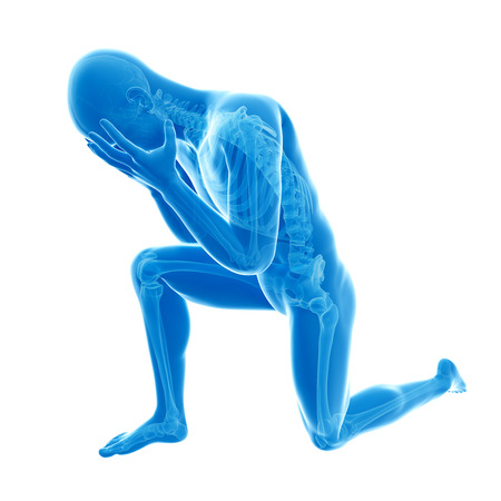 tired man: depression illustration - visible anatomy