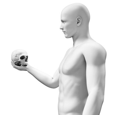 white guy holding a skull