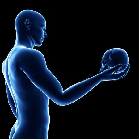 blue guy holding skull