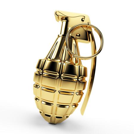 3d rendered illustration of a golden grenade illustration
