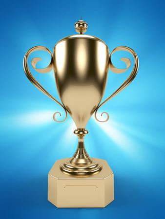 3d rendered illustration of a golden trophy illustration
