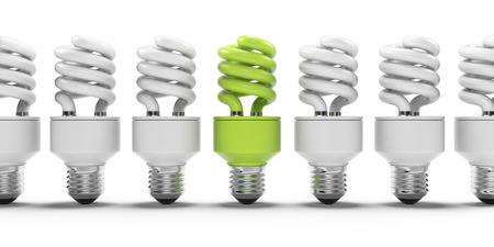 bombillo ahorrador: 3d ilustración de una bombilla de ahorro de energía de la luz