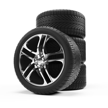 4 wheel: 3d rendered illustration of some tires