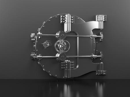 vaulted door: 3d rendered illustration of a heavy vault door
