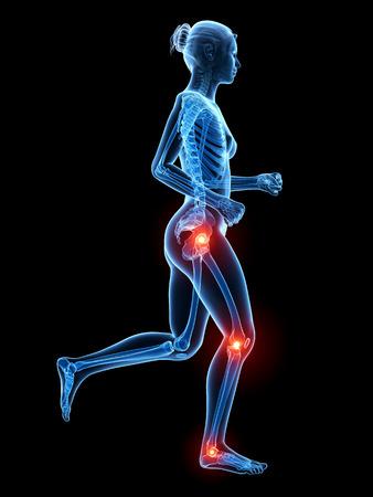 articulaciones: 3d ilustración médica - dolor en las articulaciones de las piernas