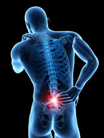 detras de: un hombre que tiene un dolor agudo en la espalda