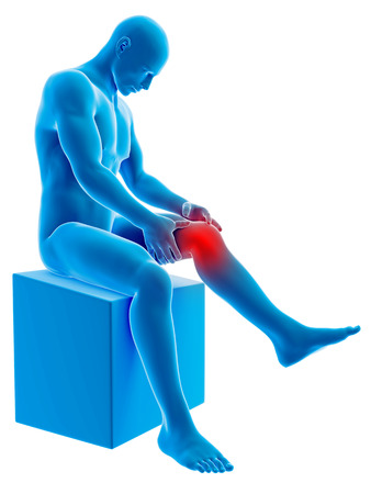 degenerative: medical 3d illustration - medical 3d illustration - man having a painful knee