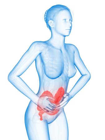 ulcerative colitis: medical 3d illustration - woman having pain in the belly