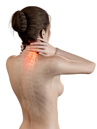 medical 3d illustration - woman having a painful neck illustration