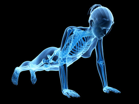 push up: medical 3d illustration - woman doing pushups