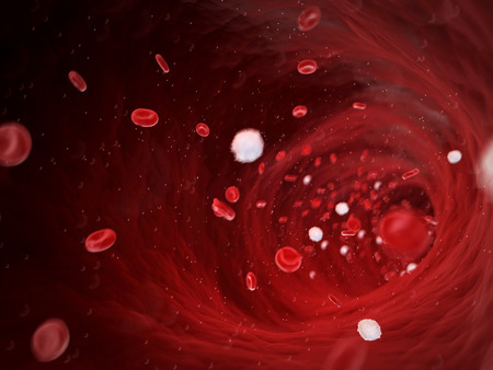 blood circulation: medical 3d illustration - human blood cells
