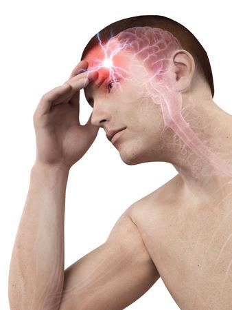 tense: illustration of a man having a headache
