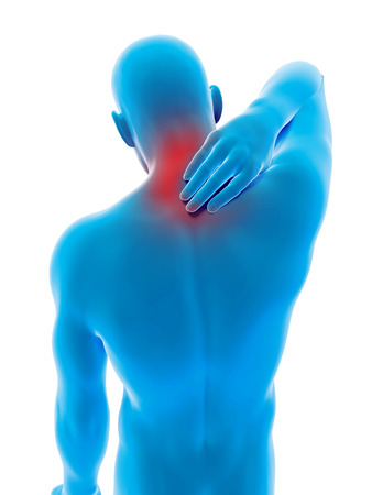 neck pain: medical 3d illustration - male having pain in the neck
