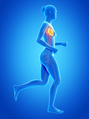 jogging woman with visible blood vessels photo