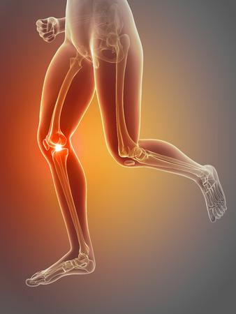 dolor de rodilla: mujer que tiene dolor en la rodilla Foto de archivo