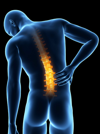 a man having acute pain in the back photo