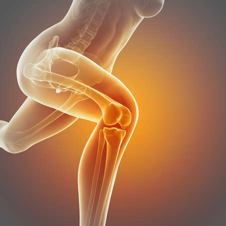 articulaciones: ilustración de una mujer corriendo - articulación de la rodilla visible