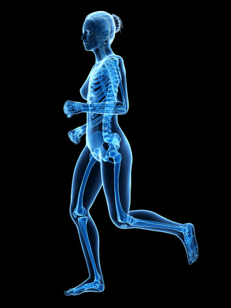 sternum: jogging woman with visible skeleton