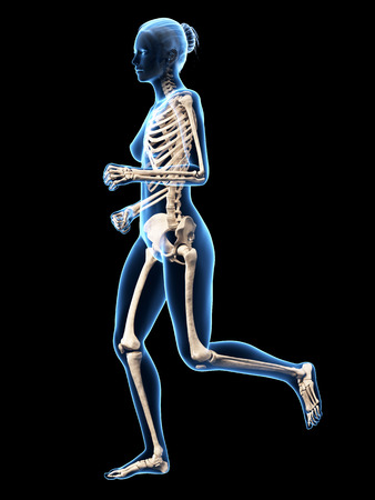 jogging woman with visible skeleton photo